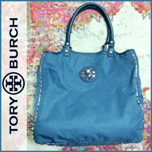 Tory Burch Nylon Blue Large Floral Interior Tote